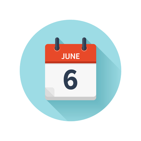 June 6. Vector flat daily calendar icon. Date and time, day, month 2018. Holiday. Season.