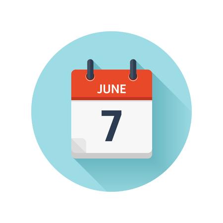 6 月 7 日。カレンダーのアイコンをベクトル フラット毎日。日付と時刻、日、月 2018。休日。シーズン。