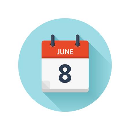 6 月 8 日。カレンダーのアイコンをベクトル フラット毎日。日付と時刻、日、月 2018。休日。シーズン。