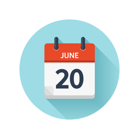 scheduler: June 20. Vector flat daily calendar icon. Date and time, day, month 2018. Holiday. Season.