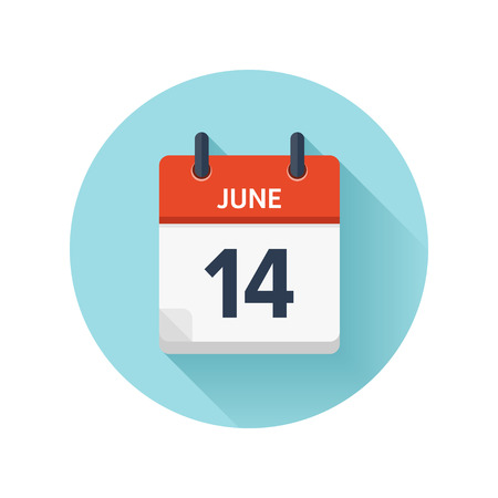 June 14. Vector flat daily calendar icon. Date and time, day, month 2018. Holiday. Season.