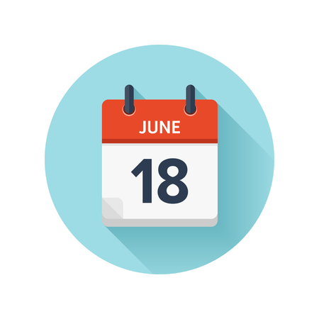 June 18. Vector flat daily calendar icon. Date and time, day, month 2018. Holiday. Season. Illustration