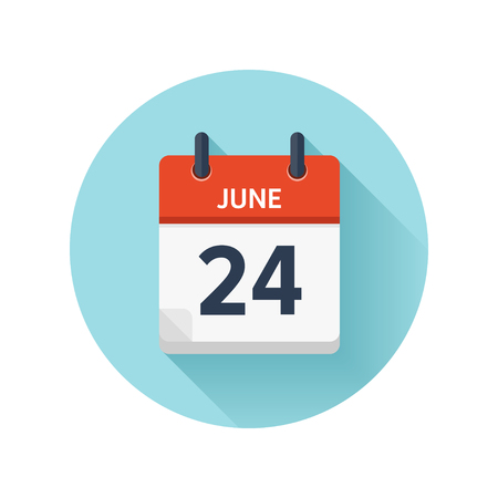 June 24. Vector flat daily calendar icon. Date and time, day, month 2018. Holiday. Season. Illustration