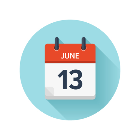 June 13. Vector flat daily calendar icon. Date and time, day, month 2018. Holiday. Season.