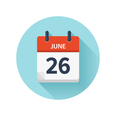 June 26. Vector flat daily calendar icon. Date and time, day, month 2018. Holiday. Season.