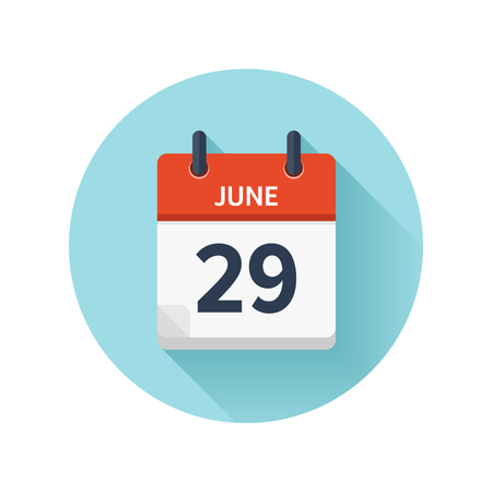 June 29. Vector flat daily calendar icon. Date and time, day, month 2018. Holiday. Season.