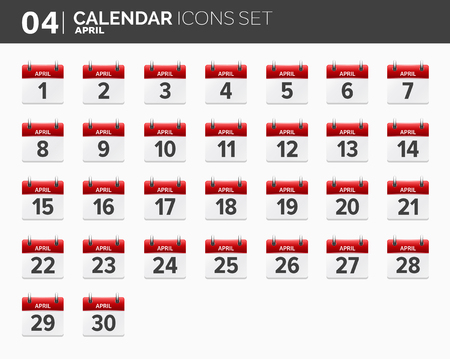 April. Calendar icons set. Date and time. 2018 year.