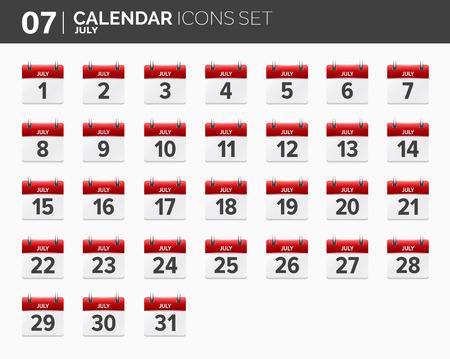 July. Calendar icons set. Date and time. 2018 year. Ilustração