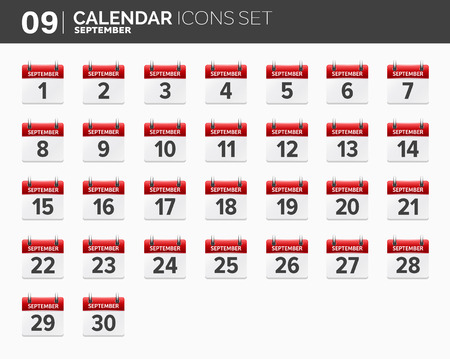 September. Calendar icons set. Date and time. 2018 year. Illustration