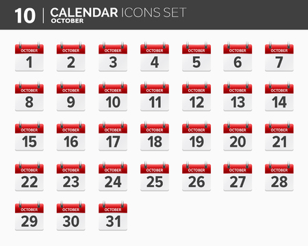 October. Calendar icons set. Date and time. 2018 year.
