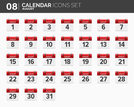 August. Calendar icons set. Date and time. 2018 year.