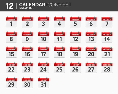 December. Calendar icons set. Date and time. 2018 year. Illustration