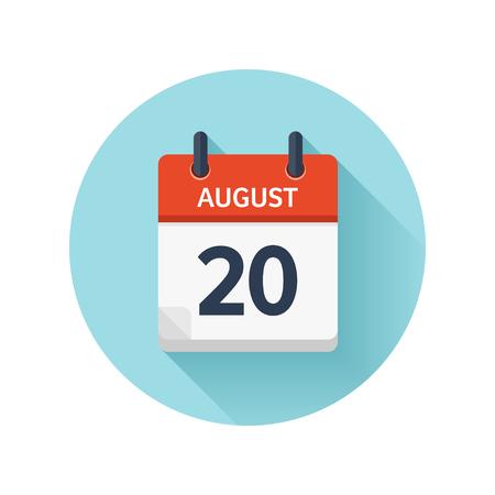 8 月 20 日。カレンダーのアイコンをベクトル フラット毎日。日付と時刻、日、月 2018。休日。シーズン。