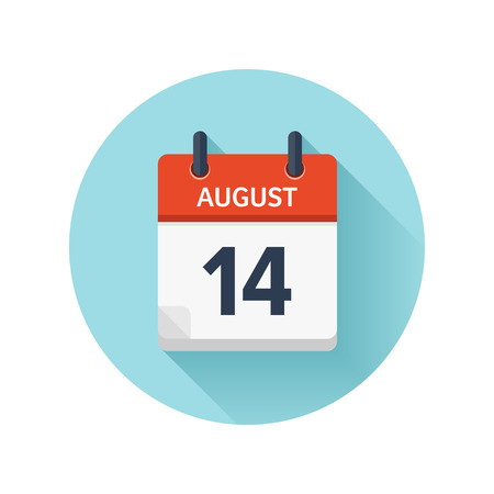 August 14. Vector flat daily calendar icon. Date and time, day, month 2018. Holiday. Season. Illustration