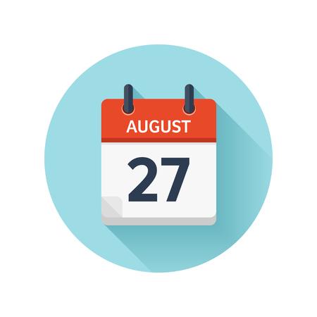 27 de agosto. Icono de calendario diario plana del vector. Fecha y hora, día, mes 2018. Vacaciones. Temporada. Foto de archivo - 86629588