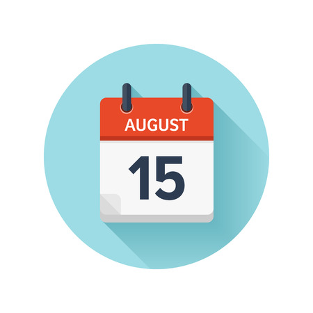 August 15. Vector flat daily calendar icon. Date and time, day, month 2018. Holiday. Season.