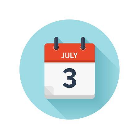 7 月 3 日。カレンダーのアイコンをベクトル フラット毎日。日付と時刻、日、月 2018。休日。