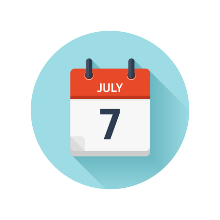 July 7. Vector flat daily calendar icon. Date and time, day, month 2018. Holiday.