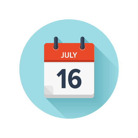 7月 16.ベクトルフラットデイリーカレンダーアイコン。日付と時刻、日、月2018。