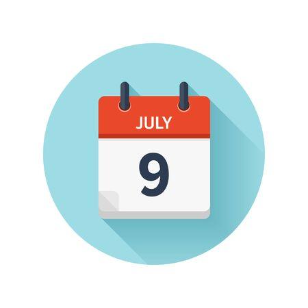 7 月 9 日。カレンダーのアイコンをベクトル フラット毎日。日付と時刻、日、月 2018。  イラスト・ベクター素材