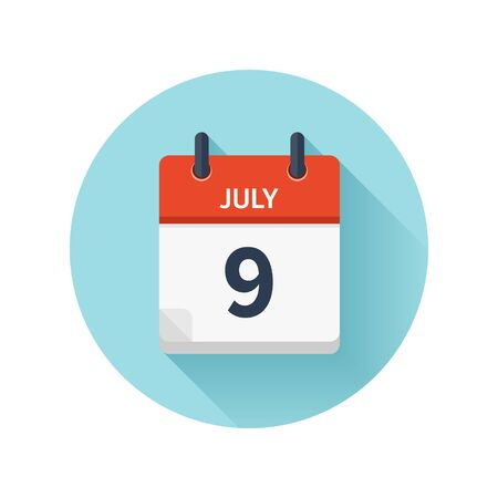 scheduler: July 9. Vector flat daily calendar icon. Date and time, day, month 2018.