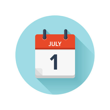 July 1. Vector flat daily calendar icon. Date and time, day, month 2018.