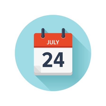 7 月 24 日。カレンダーのアイコンをベクトル フラット毎日。日付と時刻、日、月 2018。