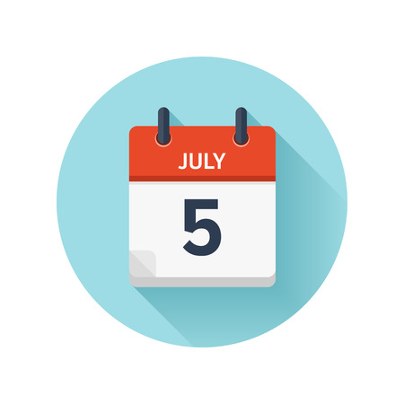 July 5. Vector flat daily calendar icon. Date and time, day, month 2018. Holiday. Season.