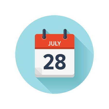 7 月 28 日。カレンダーのアイコンをベクトル フラット毎日。日付と時刻、日、月 2018。休日。シーズン。
