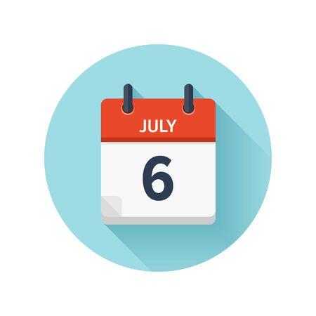 7 月 6 日。カレンダーのアイコンをベクトル フラット毎日。日付と時刻、日、月 2018。休日。シーズン。