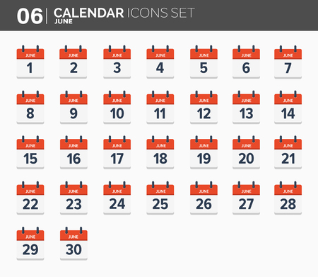 June. Calendar icons set. Date and time. 2018 year.