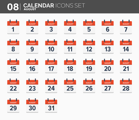 August. Calendar icons set, the year 2018