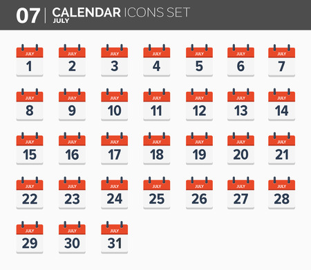 July. Calendar icons set, the year 2018