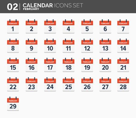 February. Calendar icons set, the year 2018 Illustration