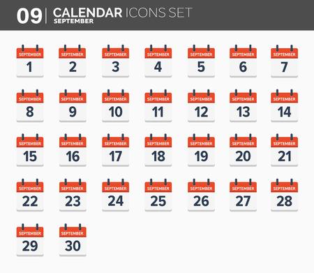 September. Calendar icons set, the year 2018 Illustration