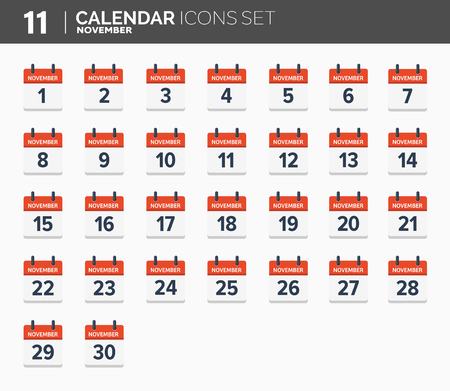 November. Calendar icons set, the year 2018