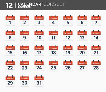 December. Calendar icons set, the year 2018