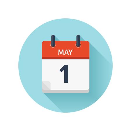 1 mei. Vector plat dagelijks kalenderpictogram. Datum en tijd, dag, maand 2018. Feestdagen. Seizoen.