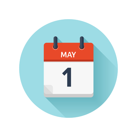 May 1. Vector flat daily calendar icon. Date and time, day, month 2018. Holiday. Season.