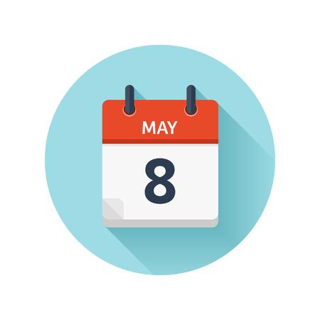 5 月 8 日。カレンダーのアイコンをベクトル フラット毎日。日付と時刻、日、月 2018。休日。シーズン。
