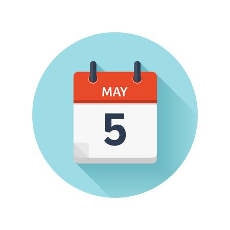 5 月 5 日。カレンダーのアイコンをベクトル フラット毎日。日付と時刻、日、月 2018。休日。シーズン。
