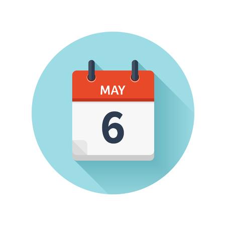 5 月 6 日。カレンダーのアイコンをベクトル フラット毎日。日付と時刻、日、月 2018。休日。シーズン。