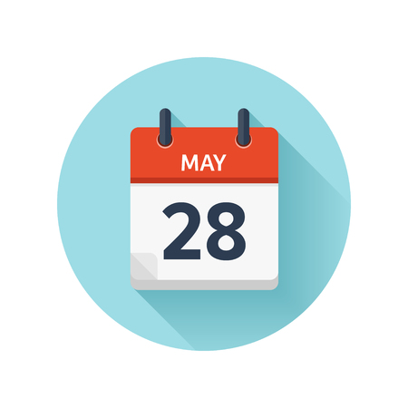 scheduler: May 28. Vector flat daily calendar icon. Date and time, day, month 2018. Holiday. Season.