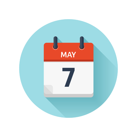 scheduler: May 7. Vector flat daily calendar icon. Date and time, day, month 2018. Holiday. Season.