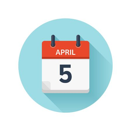 April 5. Vector flat daily calendar icon. Date and time, day, month 2018. Holiday. Season.