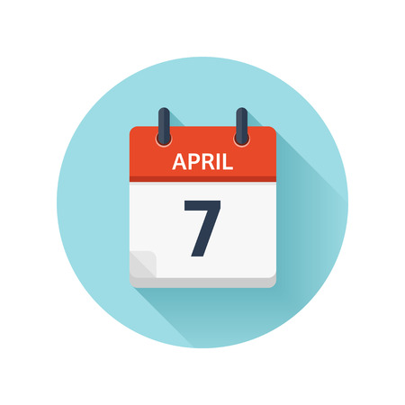scheduler: April 7. Vector flat daily calendar icon. Date and time, day, month 2018. Holiday. Season.