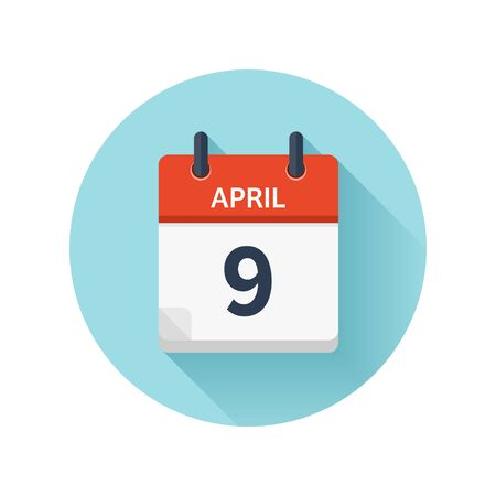 April 9. Vector flat daily calendar icon. Date and time, day, month 2018. Holiday. Season.