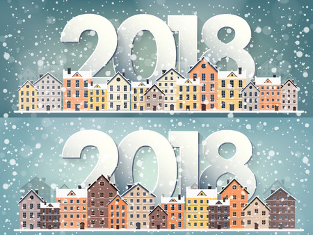 Winter urban landscape. City with snow. Christmas and new year. Cityscape. Buildings.2018.Vector illustration. Ilustração