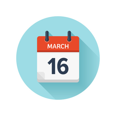 scheduler: March 16. Vector flat daily calendar icon. Date and time, day, month 2018. Holiday. Season. Illustration