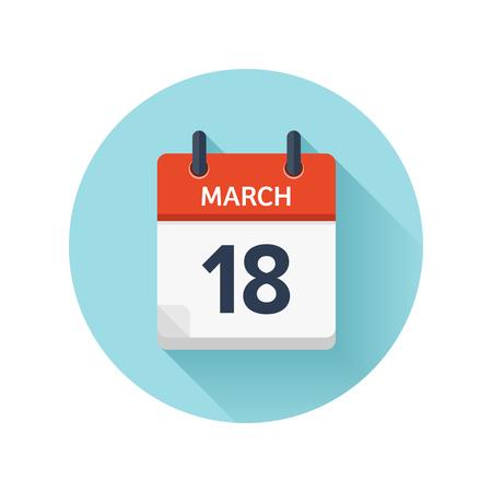 3 月 18 日。カレンダーのアイコンをベクトル フラット毎日。日付と時刻、日、月 2018。休日。シーズン。  イラスト・ベクター素材